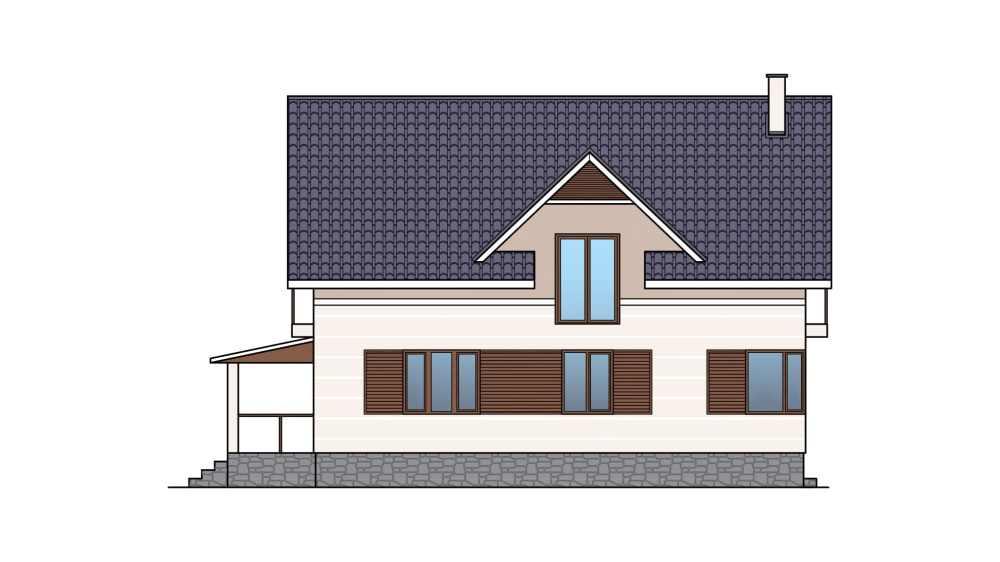 Фасад мансардного дома с гаражом, террасой и балконом «КМ-26» - слева