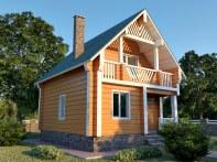 Проект мансардного дома с террасой и лоджией «КМ-36»