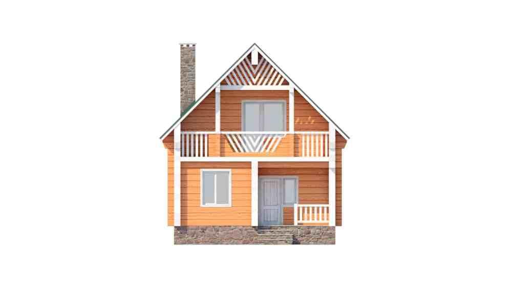 Фасад мансардного дома с террасой и лоджией «КМ-36» - спереди