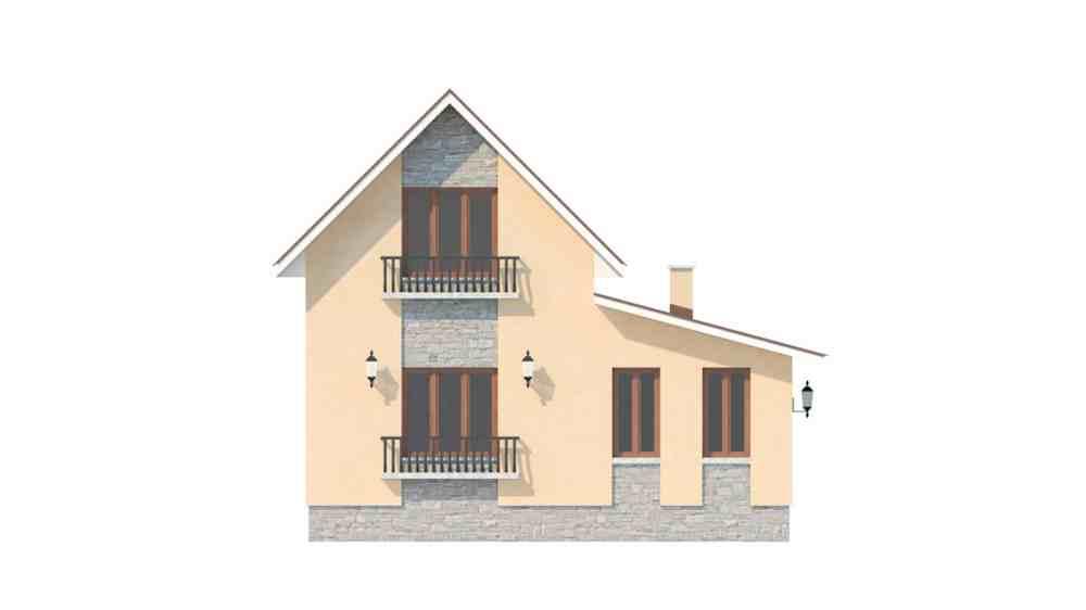 Фасад мансардного дома «КМ-47» - слева