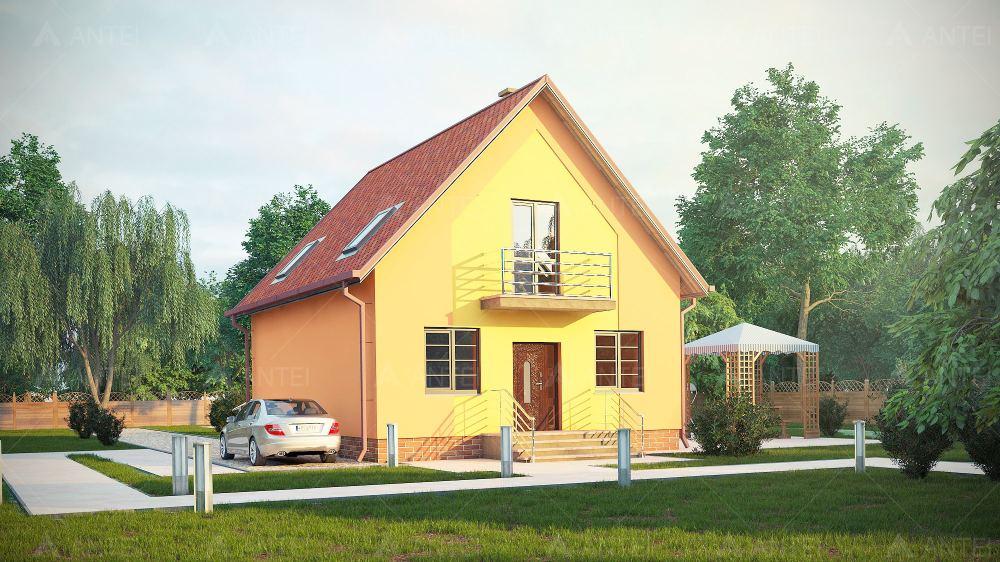 Проект мансардного дома с террасой и балконом «КМ-7» - фото №1