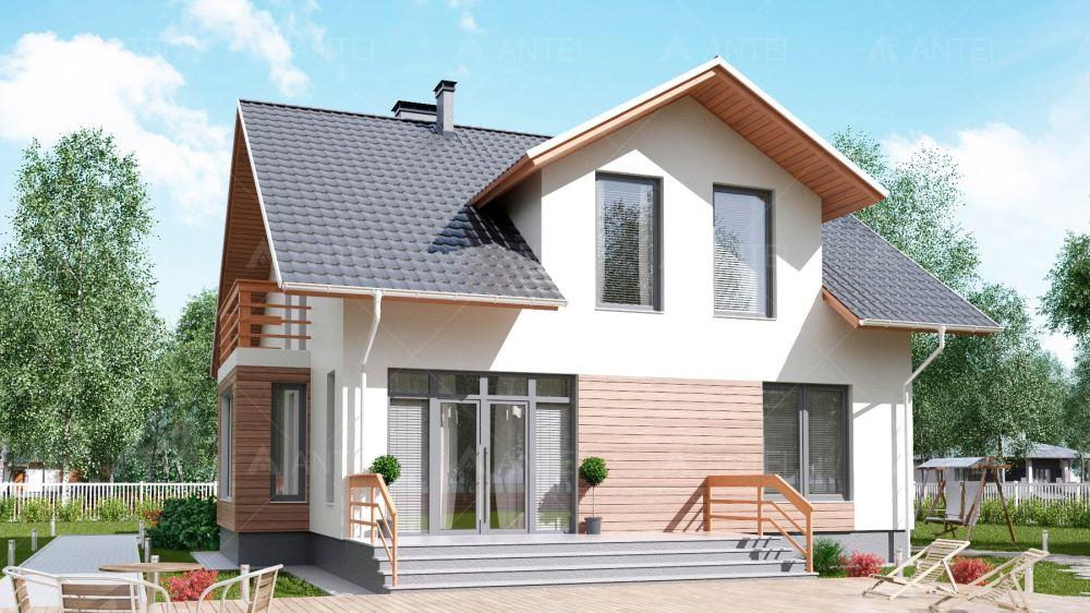 Проект мансардного дома с террасой «КМ-90» - фото №2