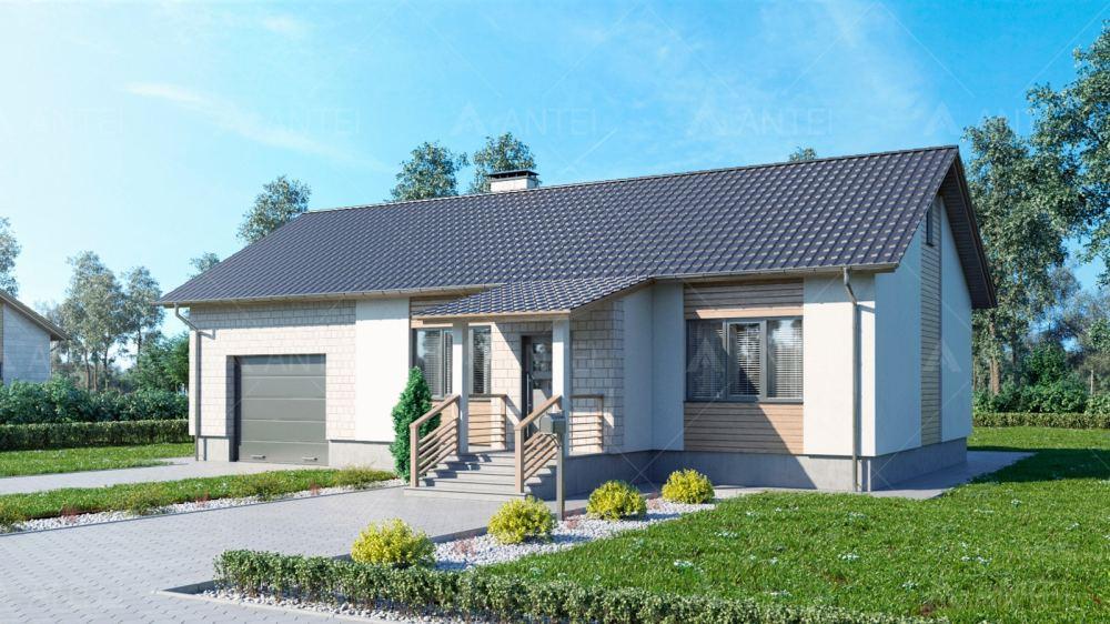 Проект одноэтажного дома с гаражом и верандой «КО-117» - фото №1