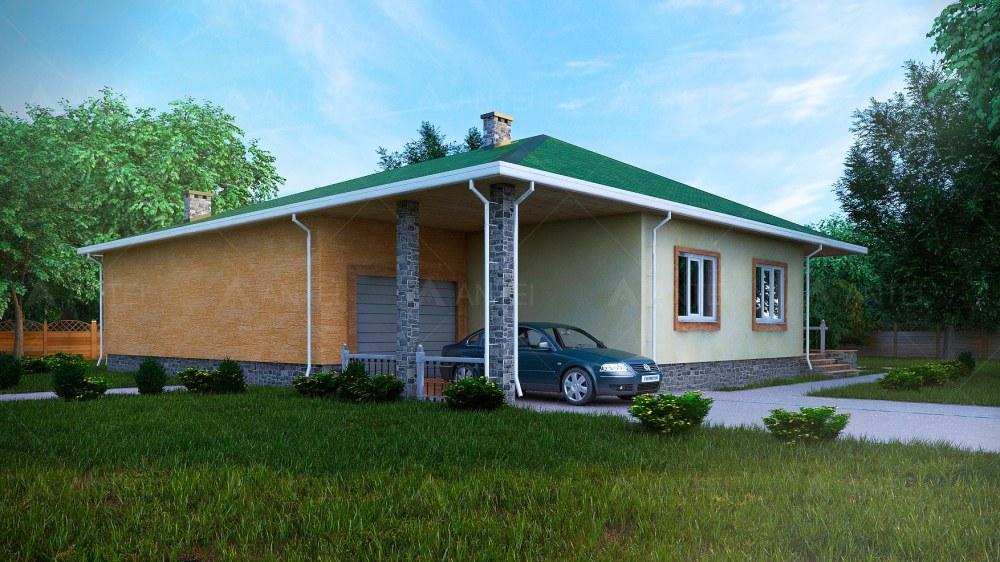 Проект одноэтажного дома с гаражом и террасой «КО-56» - фото №1