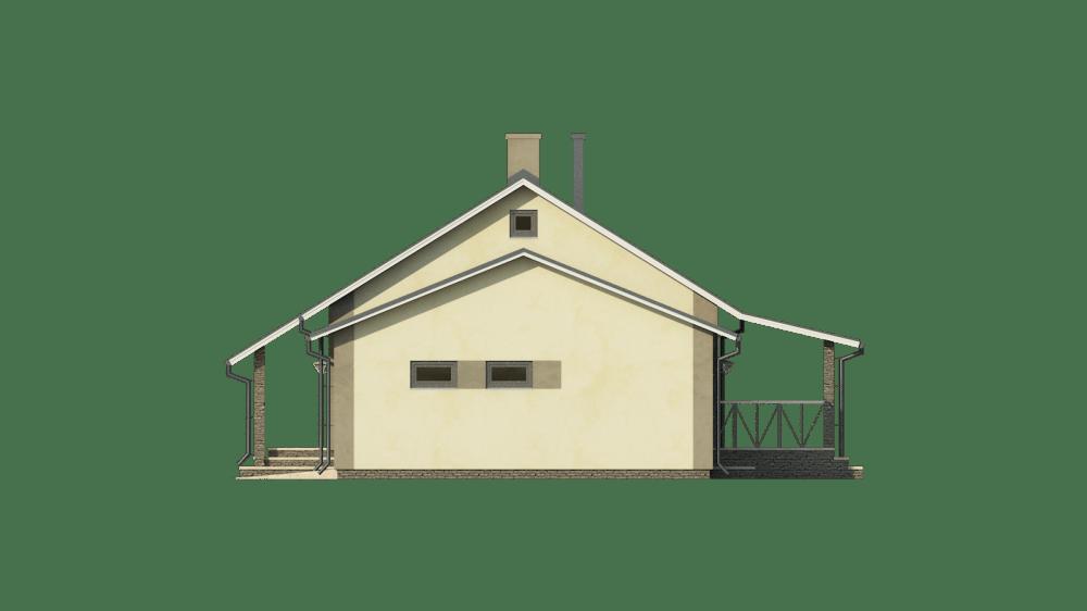 Фасад одноэтажного дома с гаражом и террасой «КО-57» - справа