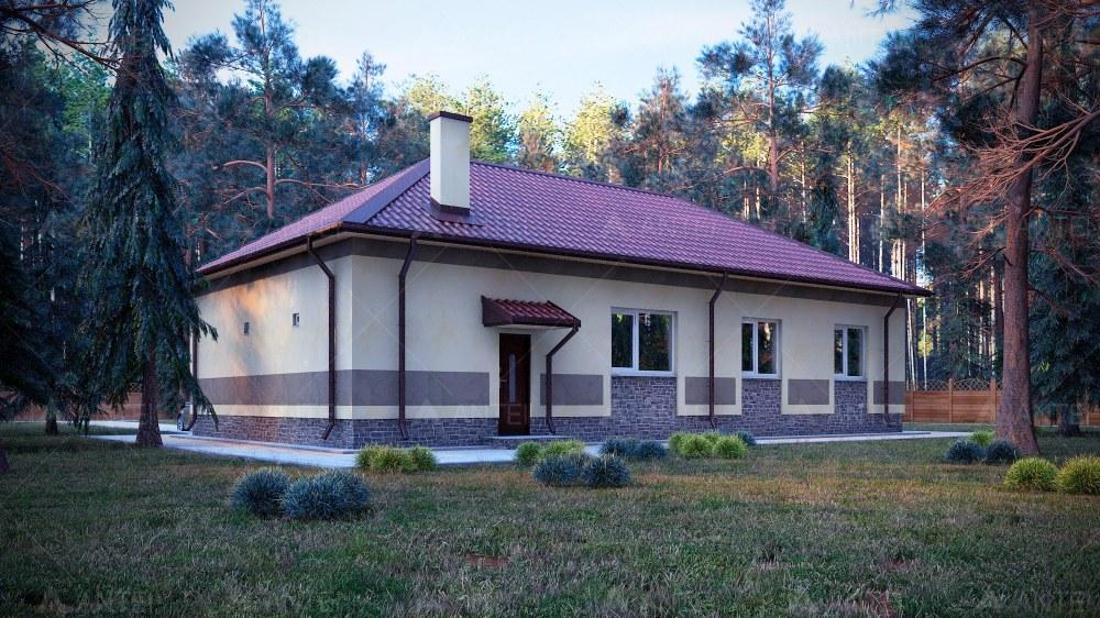 Проект одноэтажного дома с гаражом «КО-68» - фото №1
