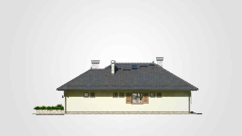Фасад одноэтажного дома с гаражом и террасой «КО-81» - спереди