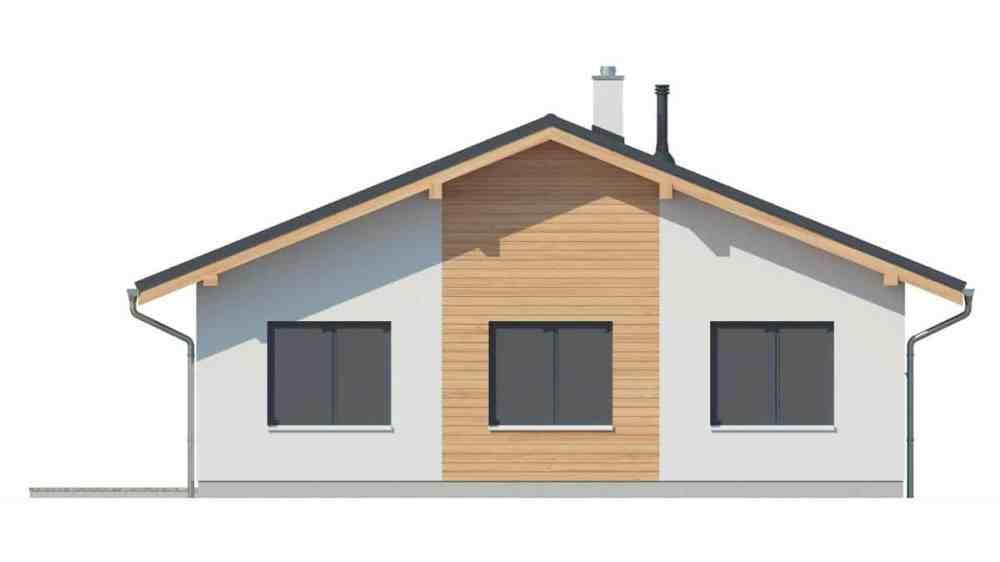 Фасад одноэтажного дома c террасой «КО-144» - справа