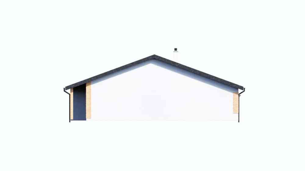 Фасад одноэтажного дома c гаражом «КО-150» - справа