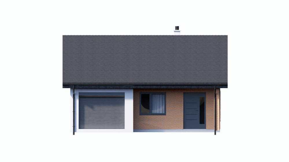 Фасад одноэтажного дома c гаражом «КО-150» - спереди