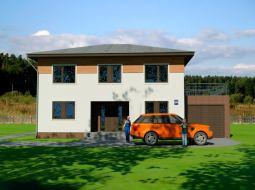 Проект двухэтажного дома с гаражом и террасой «КД-47»
