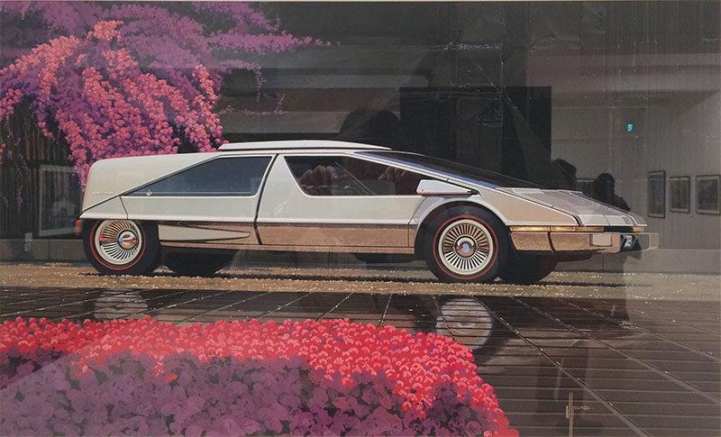シド・ミード展のカーデザイン画