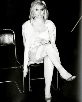 Debbie Harry (Blondie) seated 1985