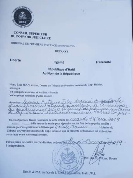 La version accordée de l'arrestation d'Antonio Jules dispensé de sa CIN 2