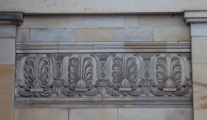 Anthemions on the side of a building in Cheltenham