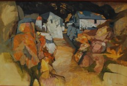 John Elwyn - Cottages on a Lane, Oil on Canvas. Sold for £4,200 Anthemion Auctions