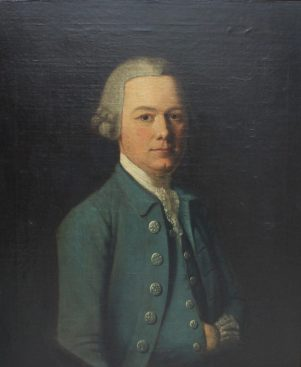 18th century British School - Head and shoulders portrait of a gentleman in a blue coat. Oil on canvas. Sold for £680 at Anthemion Auctions