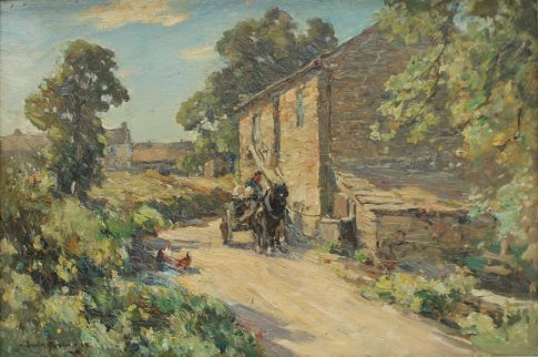 Owen Bowen - Bardsey Mill, Yorkshire, Oil on board. Sold for £780 at Anthemion Auctions