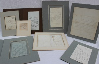 Assorted autographed letters and correspondence including Richard Cobden, Elizabeth Fry, W.M. Rossetti, Viscount Melbourne, John Bright, Florence Nightingale, W Gladston and Caroline Norton. Sold for £550 at Anthemion Auctions