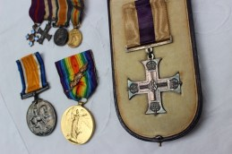 A set of three World War I medals including the Military Cross, issued to Capt. E. B Jory R.E. (cased), Victory Medal, oak leaf and British War medal issued to Capt. E B Jory together with corresponding miniatures. Sold for £850 at Anthemion Auctions