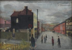 Nan Youngman - South Wales street scene, Oil on canvas. Sold for £780 at Anthemion Auctions