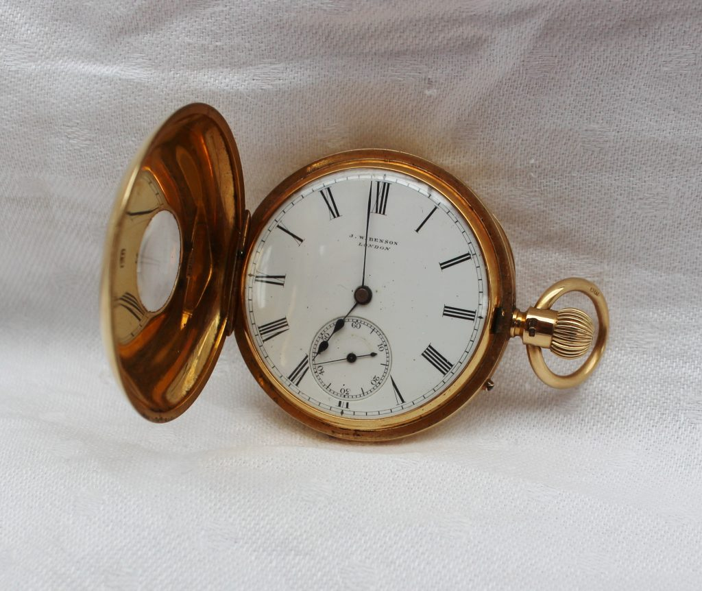 An 18ct yellow gold half hunter keyless wound pocket watch. Sold for £650 at Anthemion Auctions
