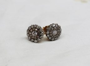 A Pair of diamond cluster earrings, each set with twenty four round brilliant cut diamonds . Sold for £650 at Anthemion Auctions