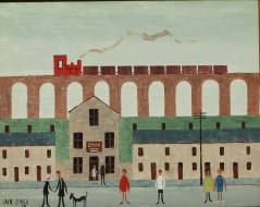 Jack Jones - A Viaduct with a train above a village street, Oil on board. Sold for £5,200 at Anthemion Auctions
