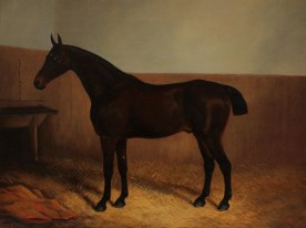 """A Clark - """"Marquis"""", A bay in a stable. Oil on canvas. Sold for £850 at Anthemion Auctions"""
