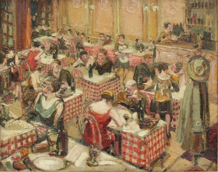 John Smith Willock - A bistro interior scene, Oil on canvas. Sold for £620 at Anthemion Auctions