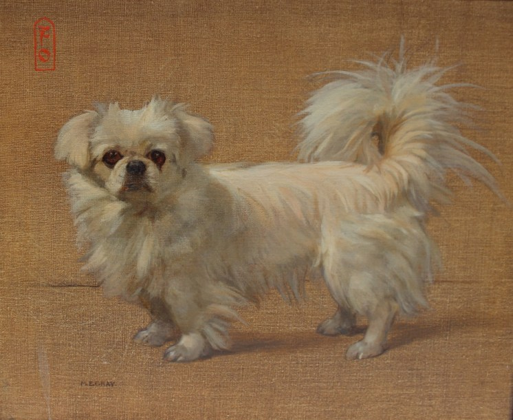 M E Gray - Fo, A Tibetan spaniel, Oil on canvas