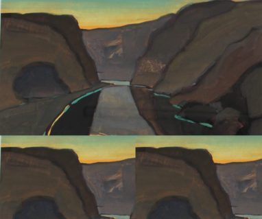 John Wright - A valley landscape in turquoise and browns, Gouache. Sold at Anthemion Auctions for £210