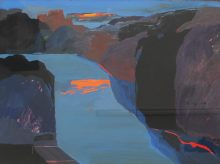 John Wright - A valley landscape in blues, oranges and purples, Gouache. Sold at Anthemion Auctions for £200