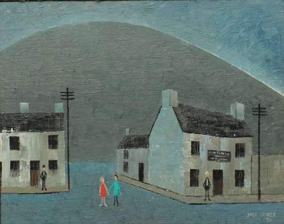 Jack Jones - A street scene with a mountain beyond, Oil on panel. Sold for £4,500 at Anthemion Auctions