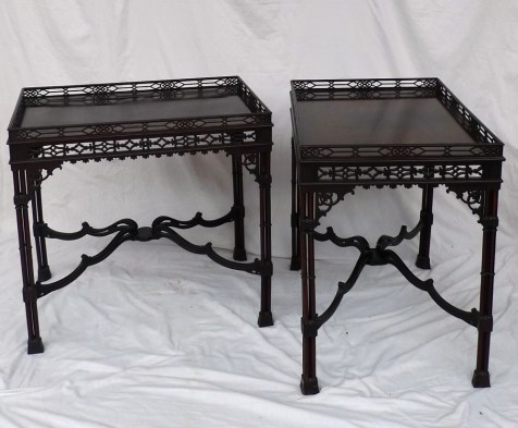 A pair of 19th century Chinese Chippendale style silver tables. Sold for £2,000 at Anthemion Auctions