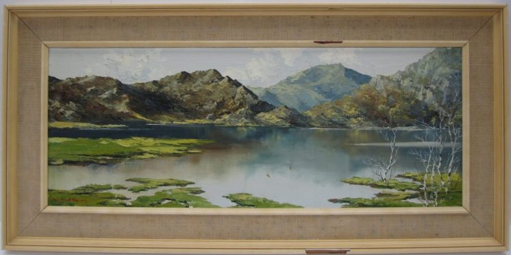 Charles Wyatt Warren Mole hebog and llyn dinas. oil on board. Sold at Anthemion Auctions for £430