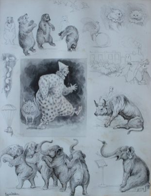 Louis Wain - Study of a clown, together with sketches of bears, cats etc., Pen and ink Sketch. Sold for £1,250 at Anthemion Auctions