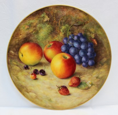 A Royal Worcester porcelain charger painted with apples, black grapes, cherries and strawberries. Sold for £2,000 at Anthemion Auctions