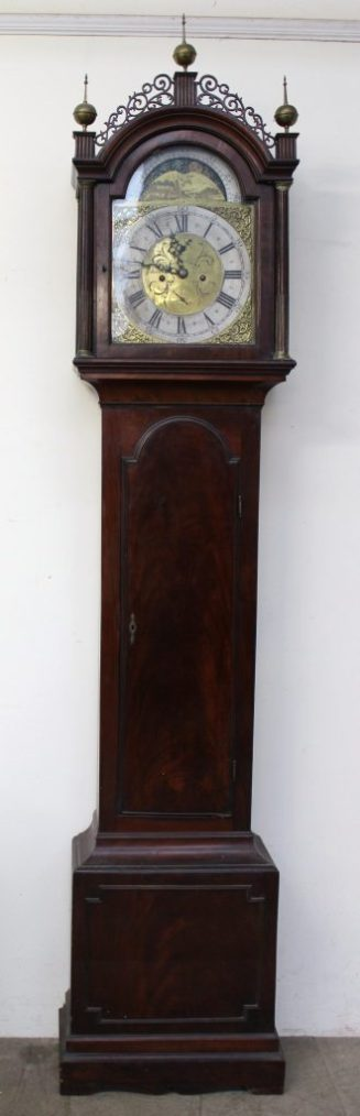 A George III mahogany longcase clock. Sold for £1,700 at Anthemion Auctions