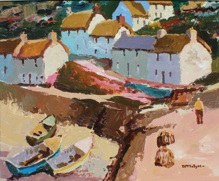 Donald McIntyre Above the harbour, Oil on board, Signed and label verso sold for £7,800.00 by Anthemion Auctions