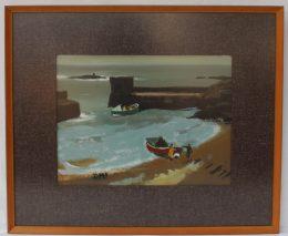 Donald McIntyre Sunlit rocks and Boat, Oil on board, 29 x 39cm sold gor £1,400.00