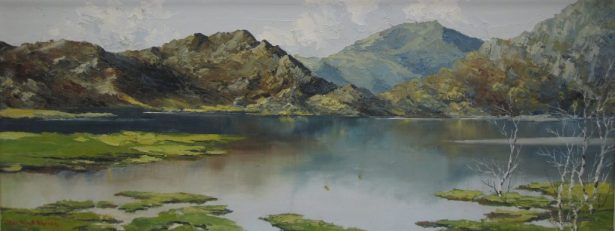 Charles Wyatt Warren - Mole hebog and llyn dinas. Oil on board. Sold at Anthemion Auctions for £430