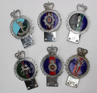 A collection of J R Gaunt, London Car badges. Sold for £400 at Anthemion Auctions