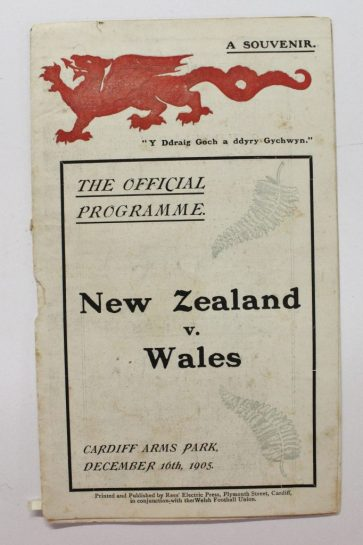 A 1905 Wales V New Zealand match programme. Sold for £3,000 at Anthemion Auctions
