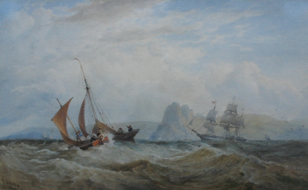 Edward Duncan, RWS 1803-1883 Shipping off the Great Torr, Gower, Swansea Watercolour Signed and dated 1864 Newman Fine Art Gallery label verso 24 x 38.5cm
