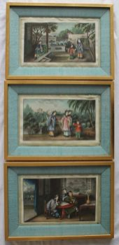 20th century Chinese School Courtesans in a garden Watercolour on rice paper 17 x 29cm Together with two others similar