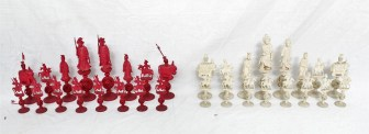 A 19th century Chinese carved Ivory chess set, natural and stained red. Sold for £950 at Anthemion Auctions