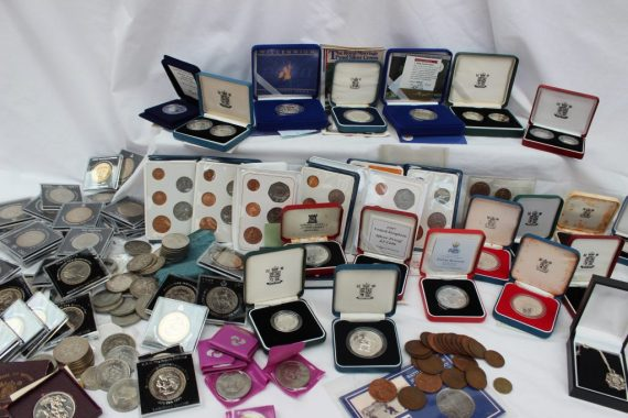 Lot 95 - Sold for £330 - A large collection of Silver and base metal coins, including a 1989 £2 silver proof two coin set, 1992 silver proof £1 coin, 1981 silver proof coin, 1982 proof silver Piedfort twenty-pence, 1992 Silver Piedfort ten pence, Silver Jubilee Crowns, Queen Mother 80th Birthday Crowns, Royal Wedding Commemorative Crowns, Festival of Britain Crown, Victorian Crowns, Churchill crowns etc