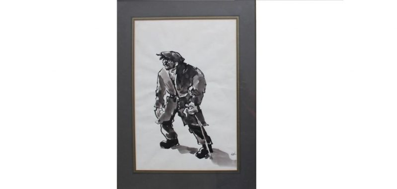 Lot 342 - Sold for £3,500 - Sir Kyffin Williams A Farmer with a walking stick Watercolour initialled 47 x 32cm