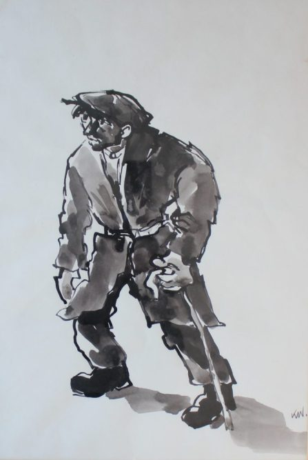 Sir Kyffin Williams - A Farmer with a walking stick, Watercolour. initialled. 47 x 32cm Sir Kyffin Williams - A Farmer with a walking stick, Watercolour. initialled. 47 x 32cm. Sold for £3,500 at Anthemion Auctions